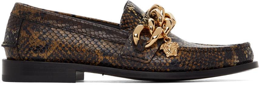 Versace 棕色 Medusa Chain 蛇纹乐福鞋