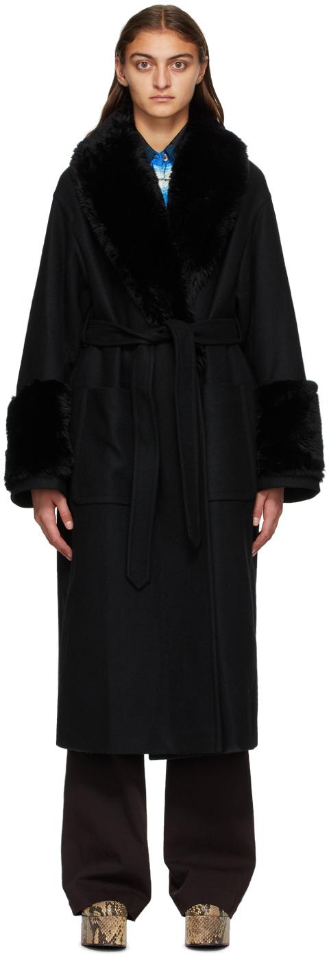 Dries Van Noten 黑色人造毛皮衣领大衣