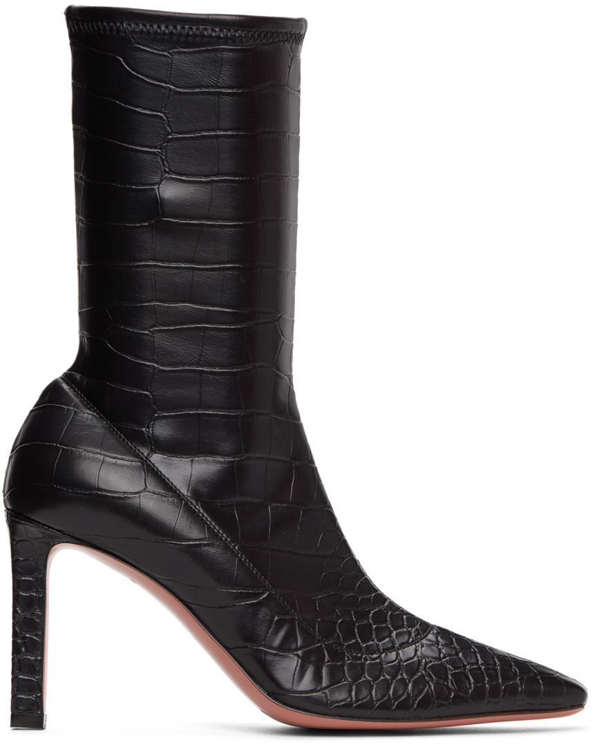Amina Muaddi 黑色 Hannah 鳄鱼纹中筒靴