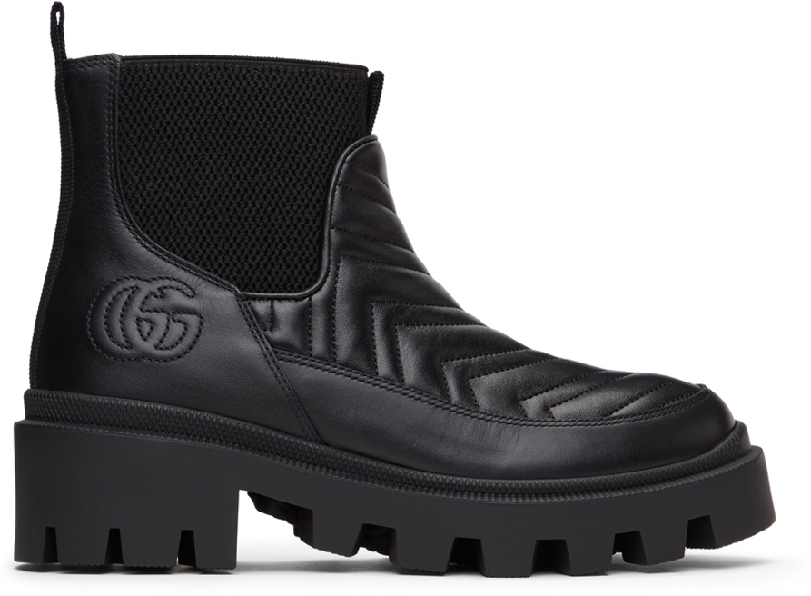 Gucci 黑色 Matelassé 切尔西靴