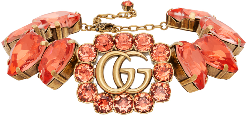 Gucci 金色 & 红色 GG Marmont Heart 项链