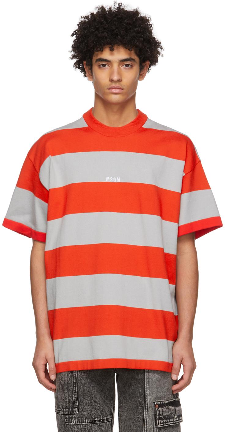 MSGM 红色 & 灰色条纹徽标 T 恤