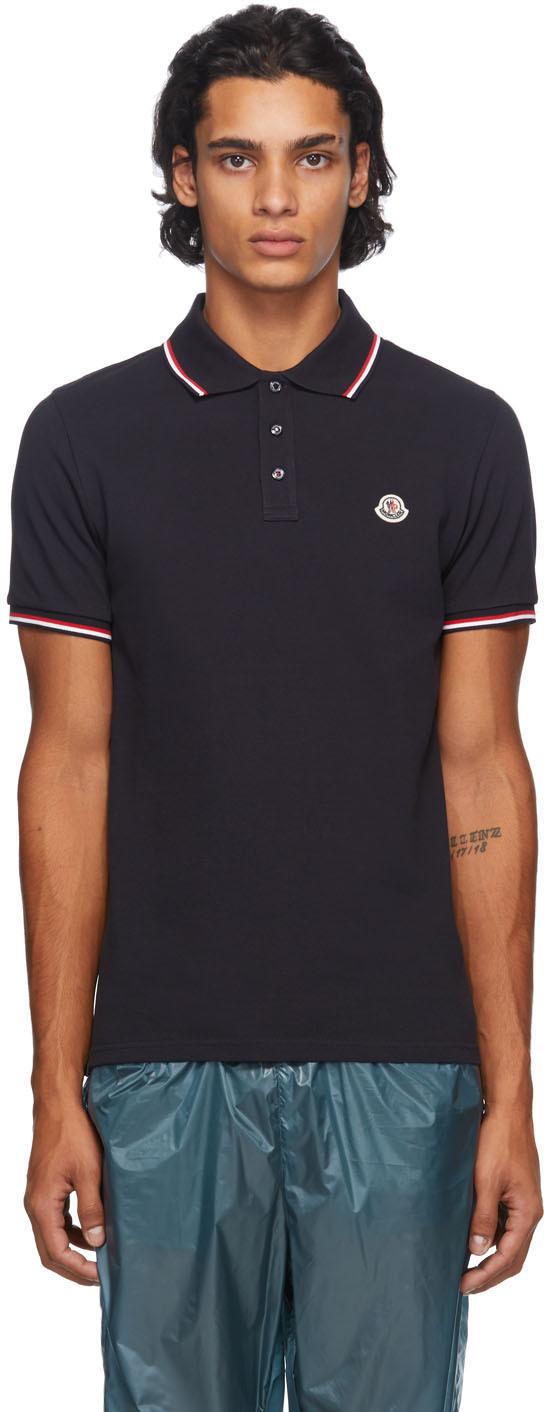 Moncler 海军蓝珠地棉 Polo 衫