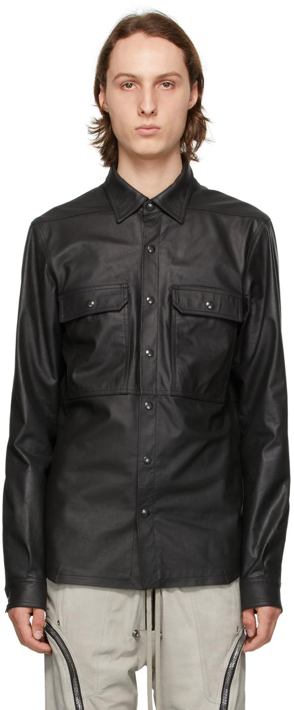 Rick Owens 黑色皮革衬衫夹克