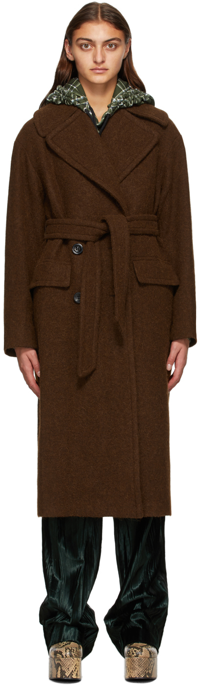 Dries Van Noten 棕色大廓形大衣