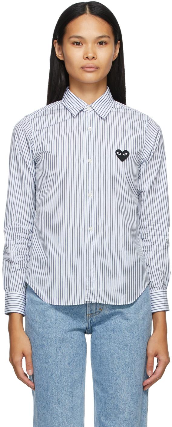 Comme des Garçons Play 白色 & 蓝色 Heart Patch 条纹衬衫