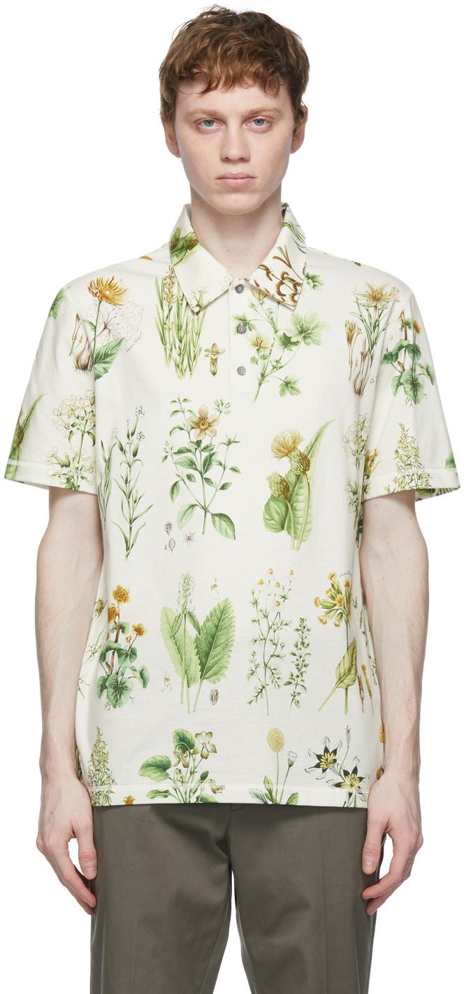 Salvatore Ferragamo 灰白色 Herbal Print Polo 衫
