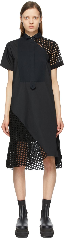 Sacai 黑色刺绣连衣裙
