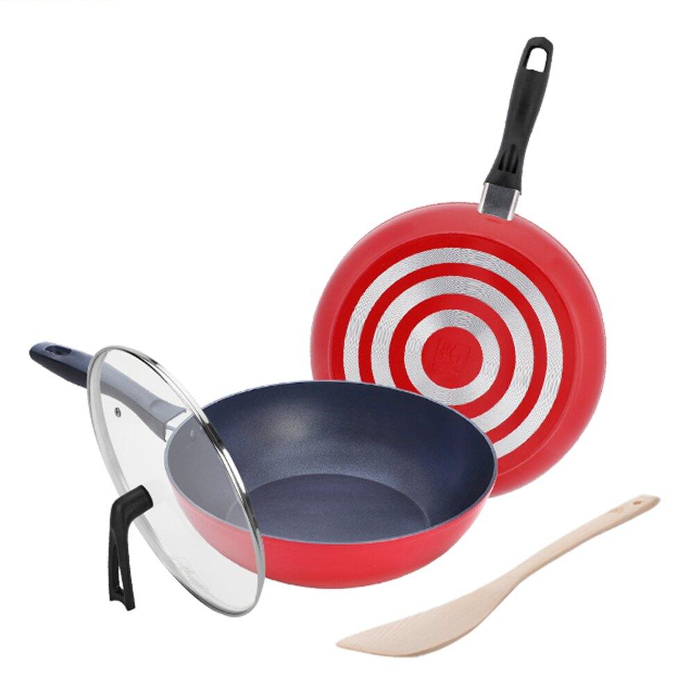 鍋寶 輕鍛藍鑽不沾雙鍋超值組 28CM (深煎鍋+平煎鍋+玻璃鍋蓋+木鏟) 三色任選