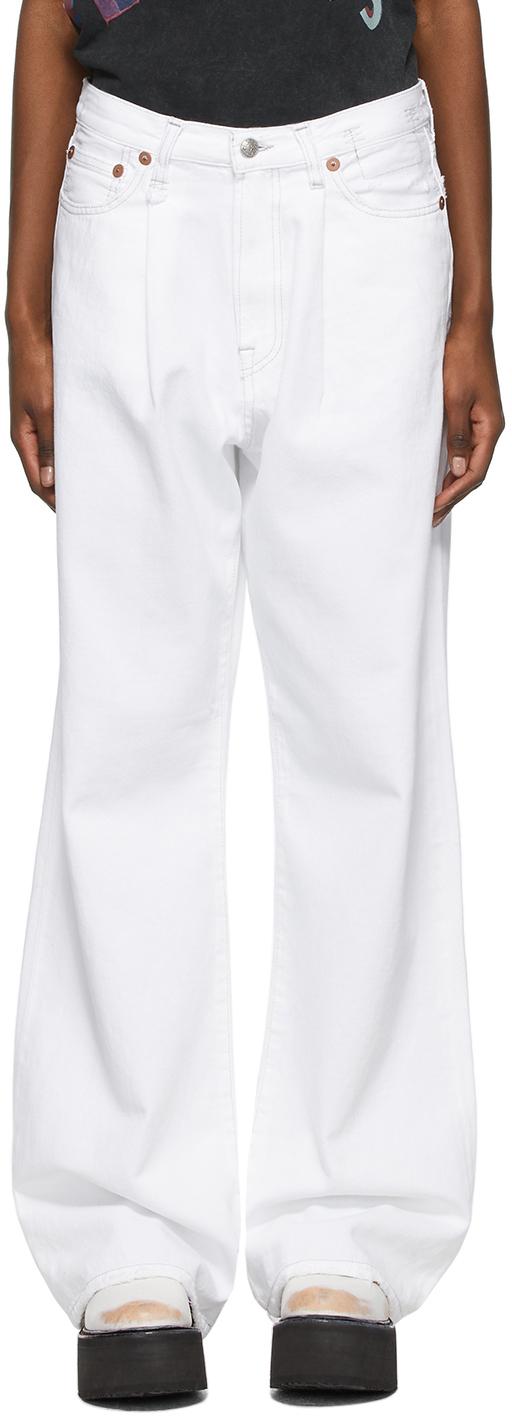 R13 白色 Damon 褶裥牛仔裤