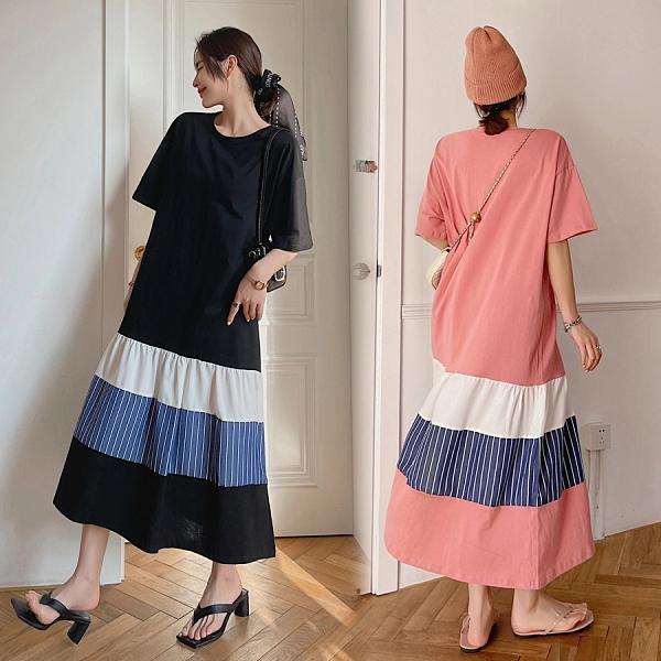 洋裝 韓系春夏休閒寬鬆拼接裙擺短袖連身長裙 共2色 L-3XL 依米迦