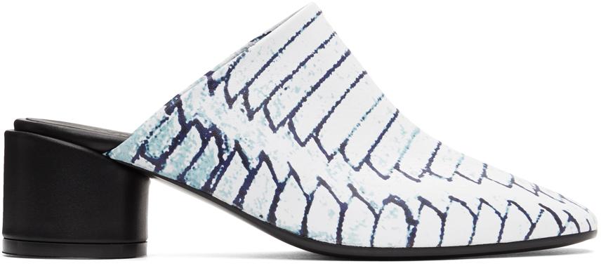 MM6 Maison Margiela 白色 Woven Print 穆勒鞋
