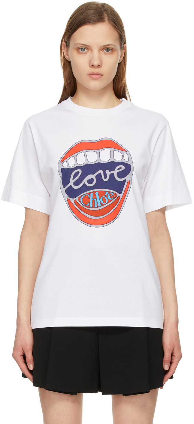 Chloé 白色 Love Mouth T 恤