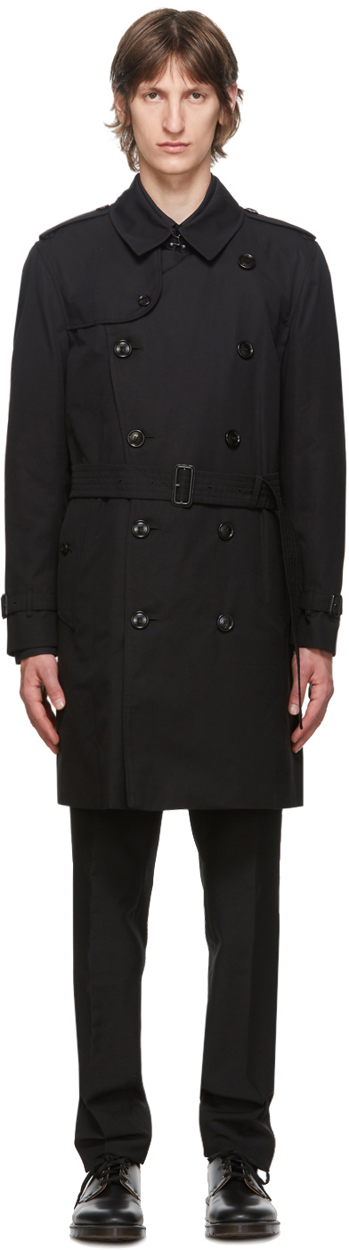 Burberry 黑色 Kensington Heritage 中长款华达呢风衣