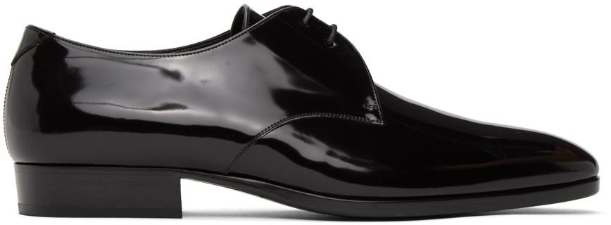 Saint Laurent 黑色 Wyatt 25 漆皮德比鞋