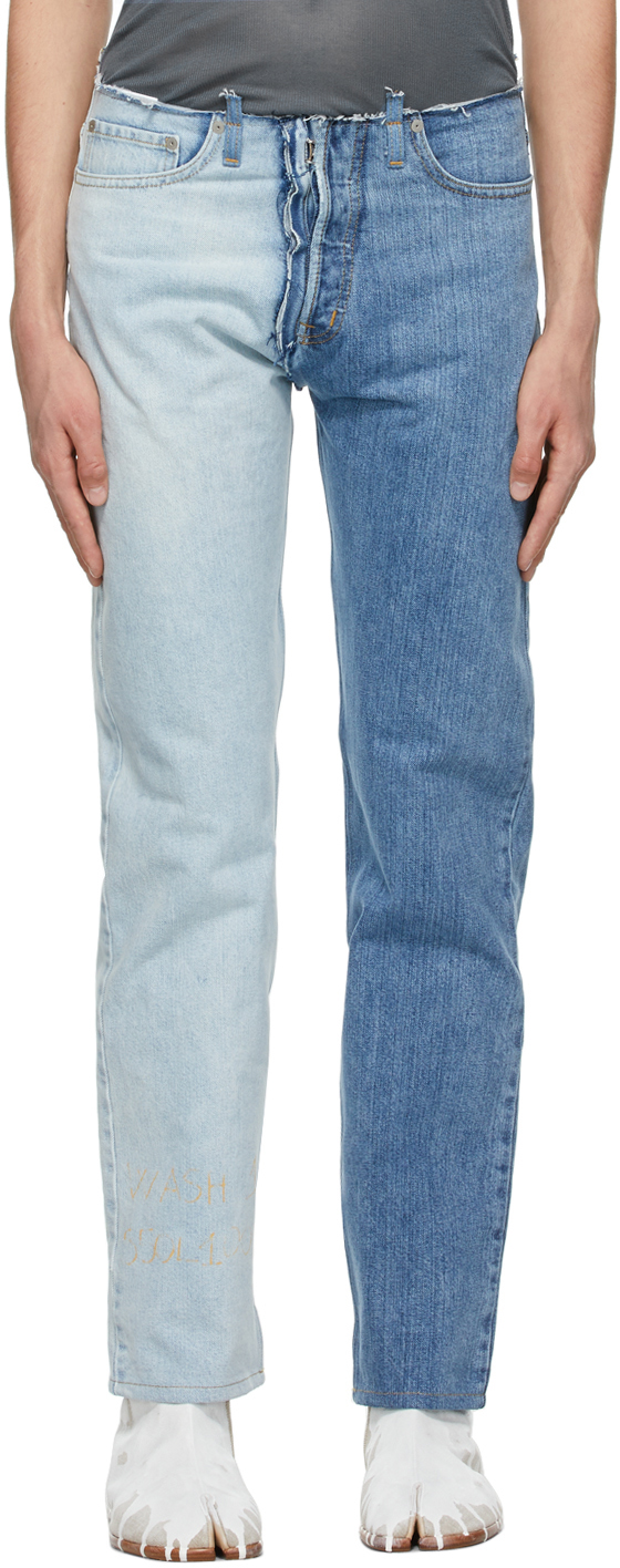 Maison Margiela 蓝色 Spliced 牛仔裤