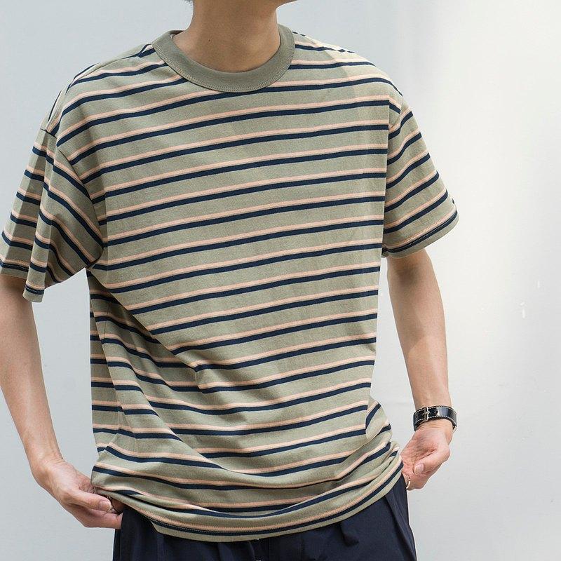 夏季 日系搭配休閒條紋短袖 日常通勤休閒寬松T- shirts