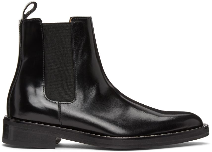 AMI Alexandre Mattiussi 黑色皮革切尔西靴