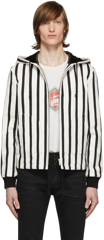 Saint Laurent 黑色 & 白色 Baja 珠皮呢夹克