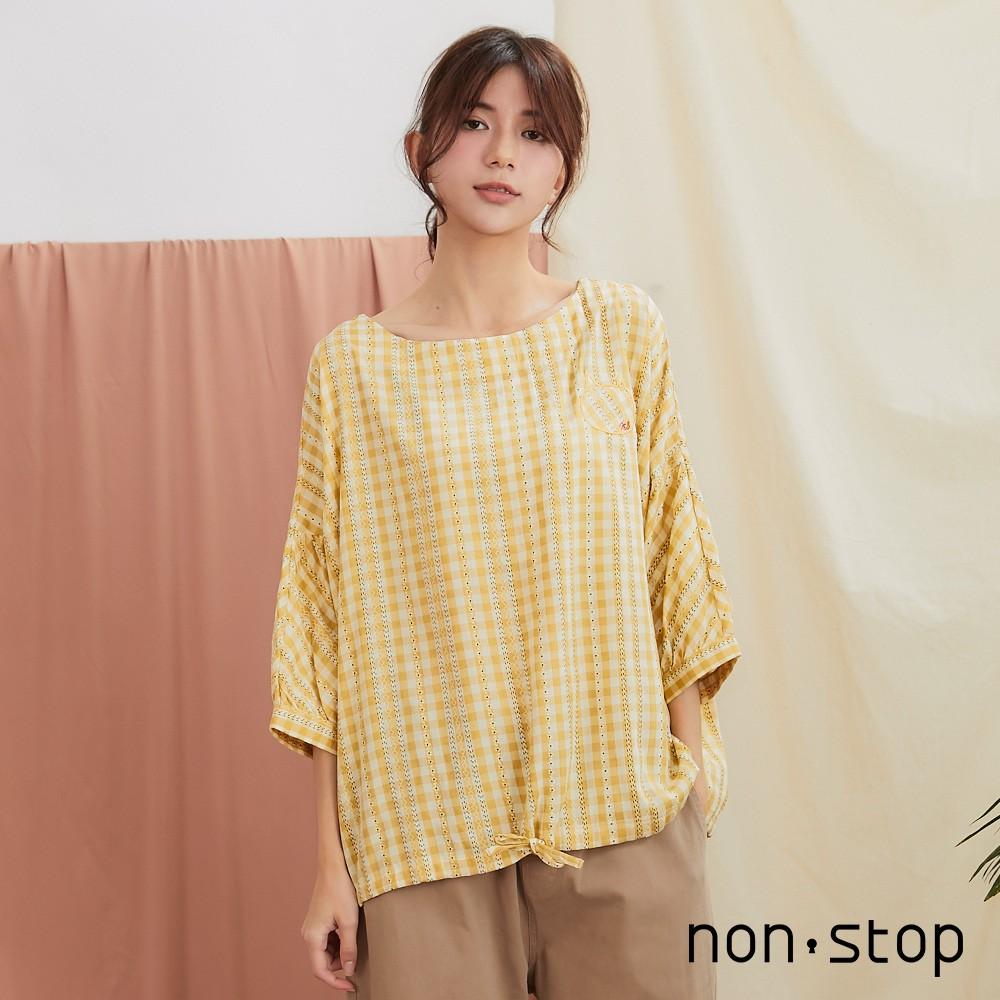 non-stop 春日好感格紋蕾絲泡泡袖上衣-1色