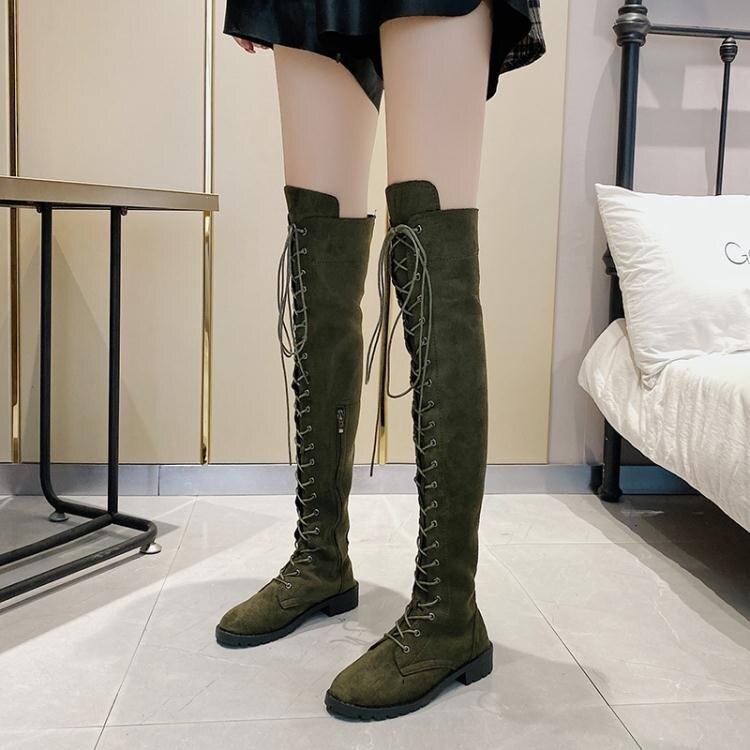 長筒靴 復古馬丁靴子女英倫風長筒靴2021秋冬新款【韓尚優品】