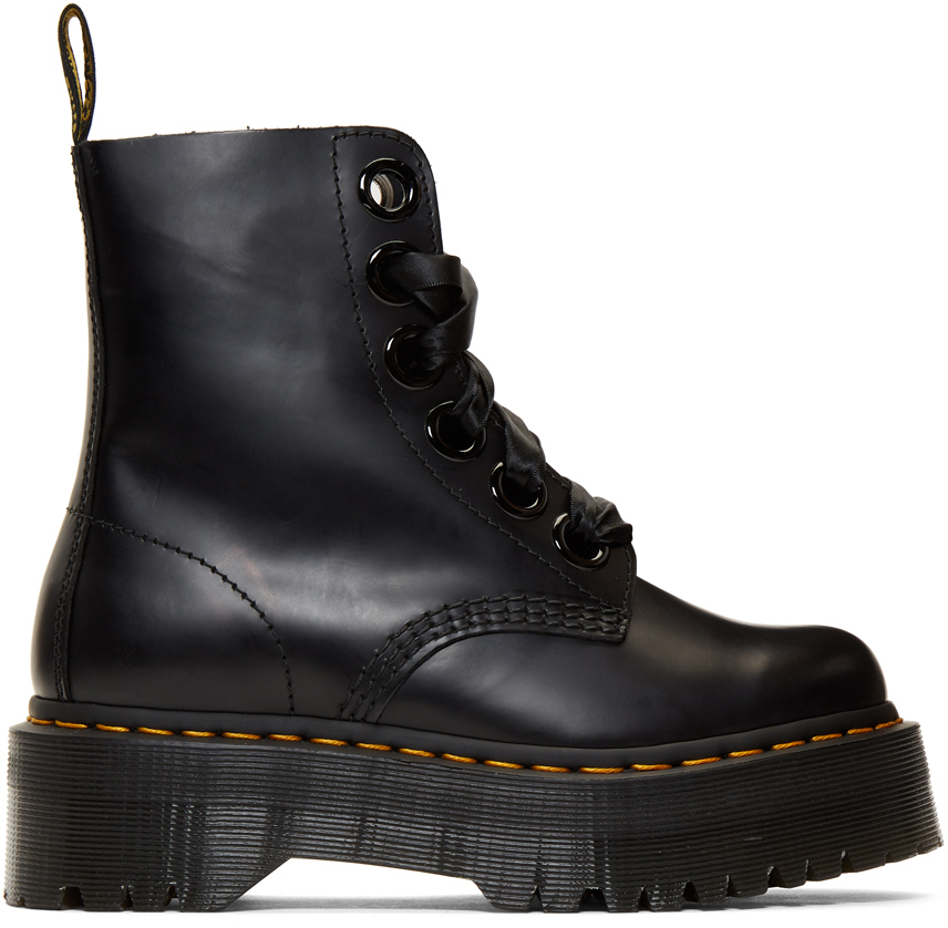 Dr. Martens 黑色 Molly 罗缎系带踝靴