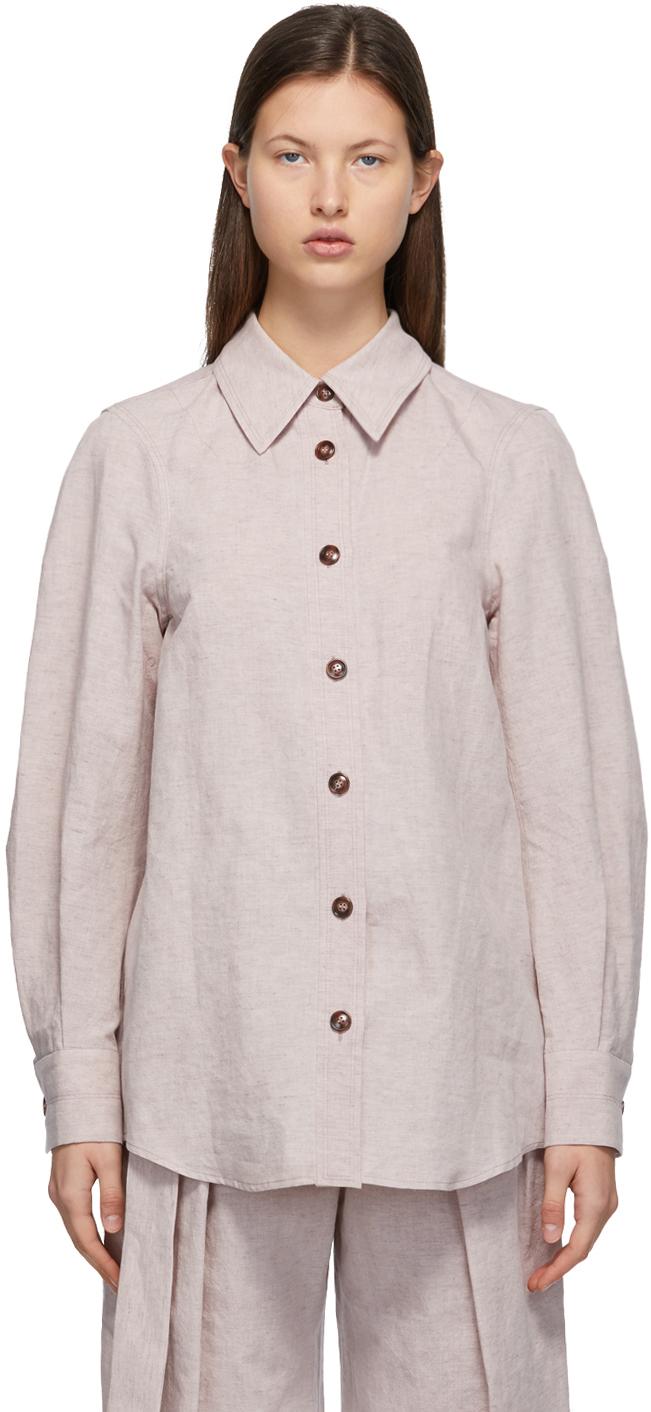 LOW CLASSIC 驼色翻领衬衫