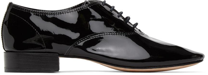 Repetto 黑色 Zizi 漆皮牛津鞋