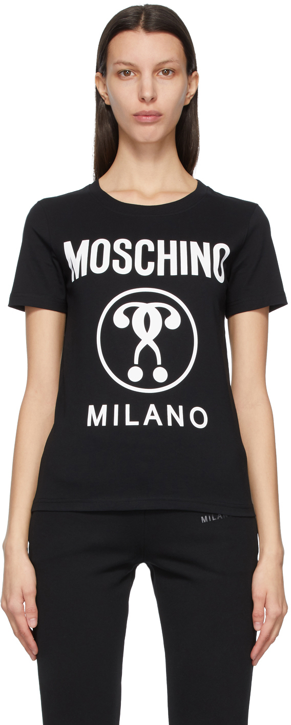 Moschino 黑色 Double Question Mark T 恤