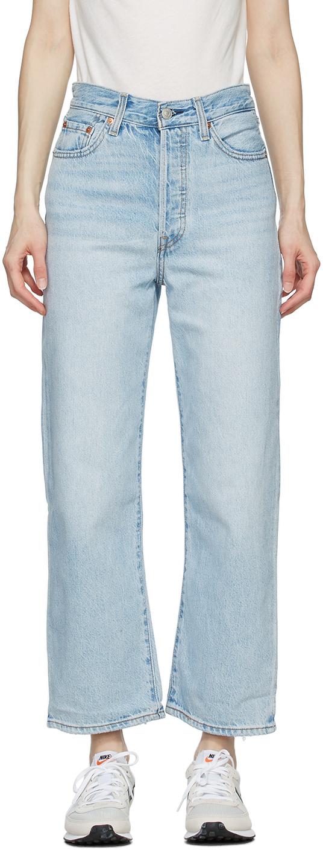 Levi's 蓝色 Ribcage Straight Ankle 水洗牛仔裤