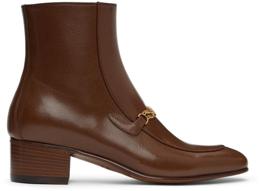 Gucci 黄褐色 Interlocking G Chain 踝靴