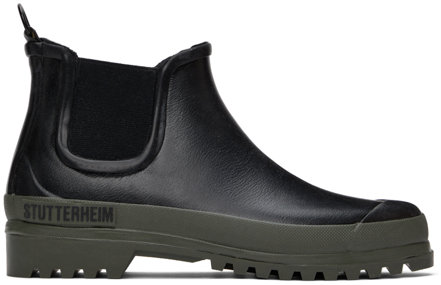 Stutterheim 黑色 Rainwalker 切尔西靴