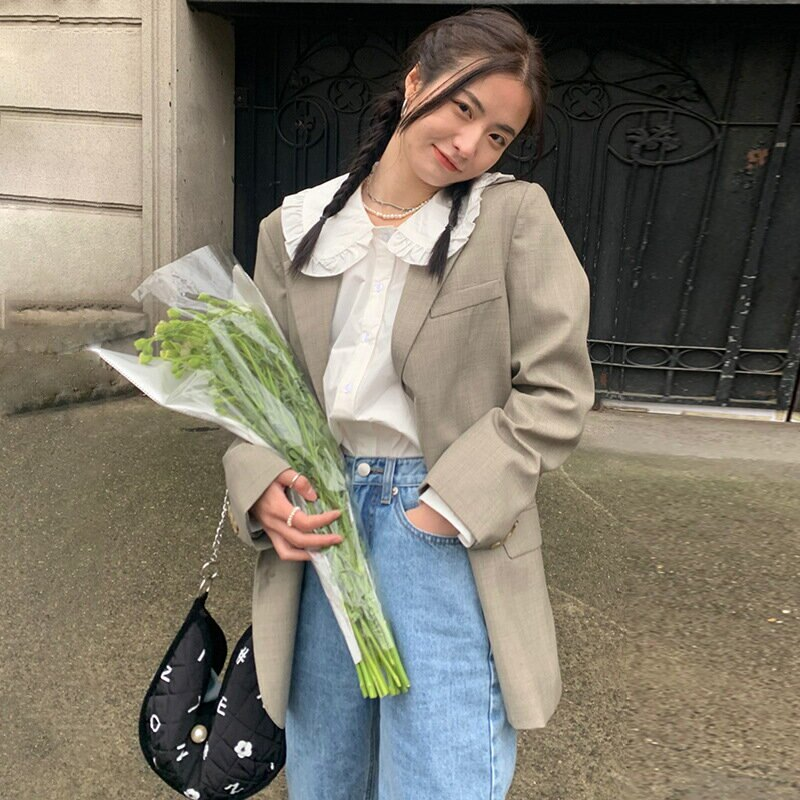 韓國復古時髦品質墊肩小西裝外套女2021春季氣質寬鬆顯瘦西服
