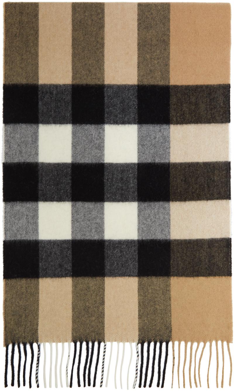 Burberry 驼色 Mega Check 羊绒围巾