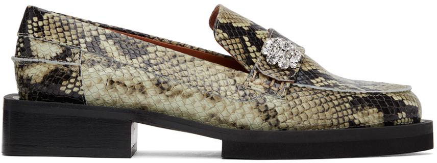 GANNI 黑色 & 灰白色 Jewel 蛇纹乐福鞋