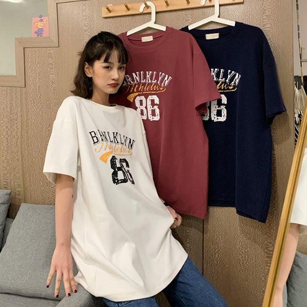 M-2XL實拍美式休閒88字母短袖上衣 學院風印花寬鬆大碼女裝短袖T恤(3色)-優美依戀