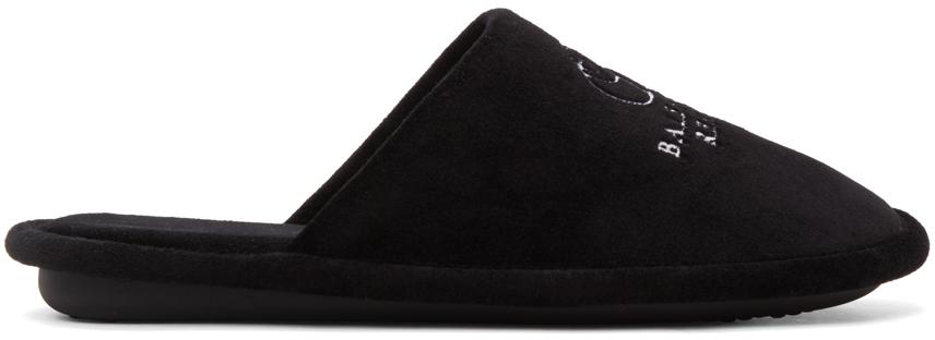 Balenciaga 黑色 Towel Velvet 徽标拖鞋