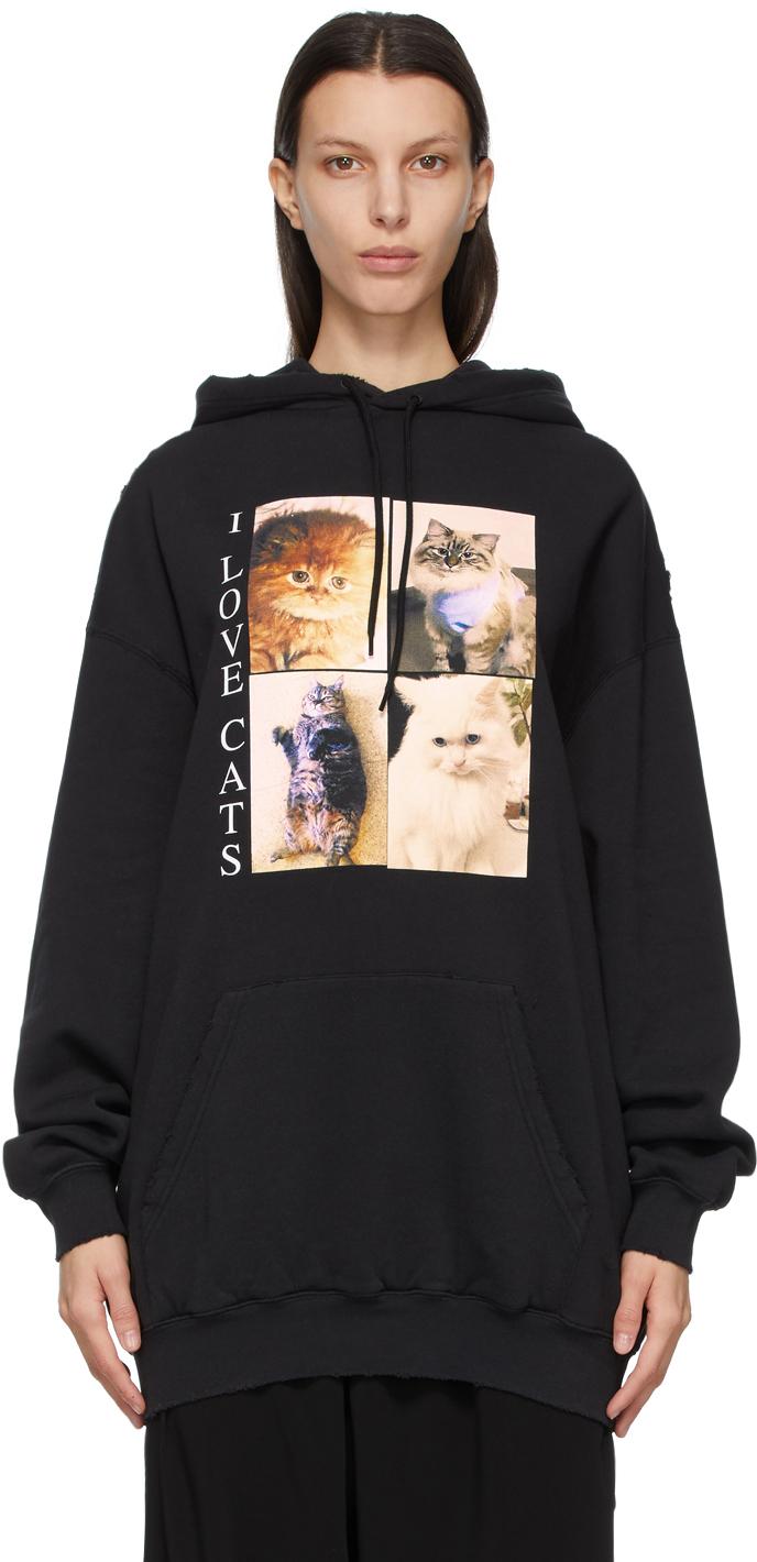 """Balenciaga 黑色 I LOVE PETS 胶囊系列""""I Love Cats"""" Medium Fit 连帽衫"""