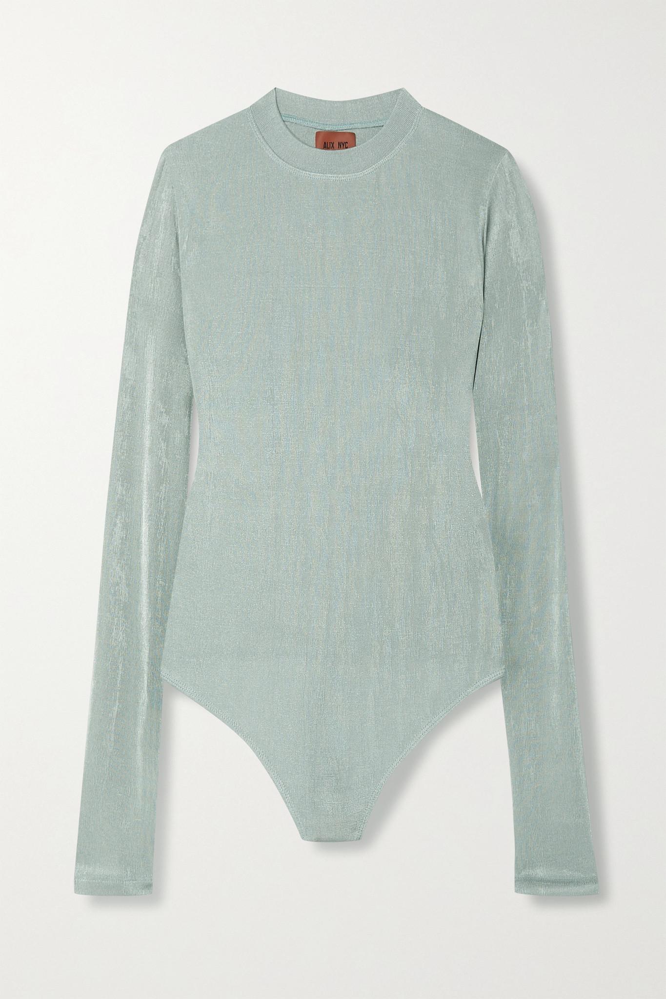 ALIX NYC - Layton Cutout Metallic Stretch-jersey Thong Bodysuit - Silver - medium