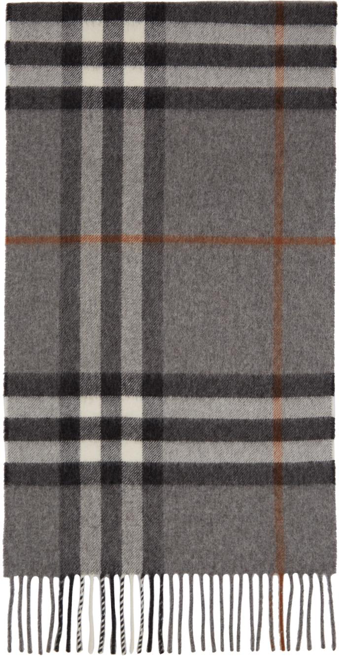 Burberry 灰色 Giant Check 羊绒围巾