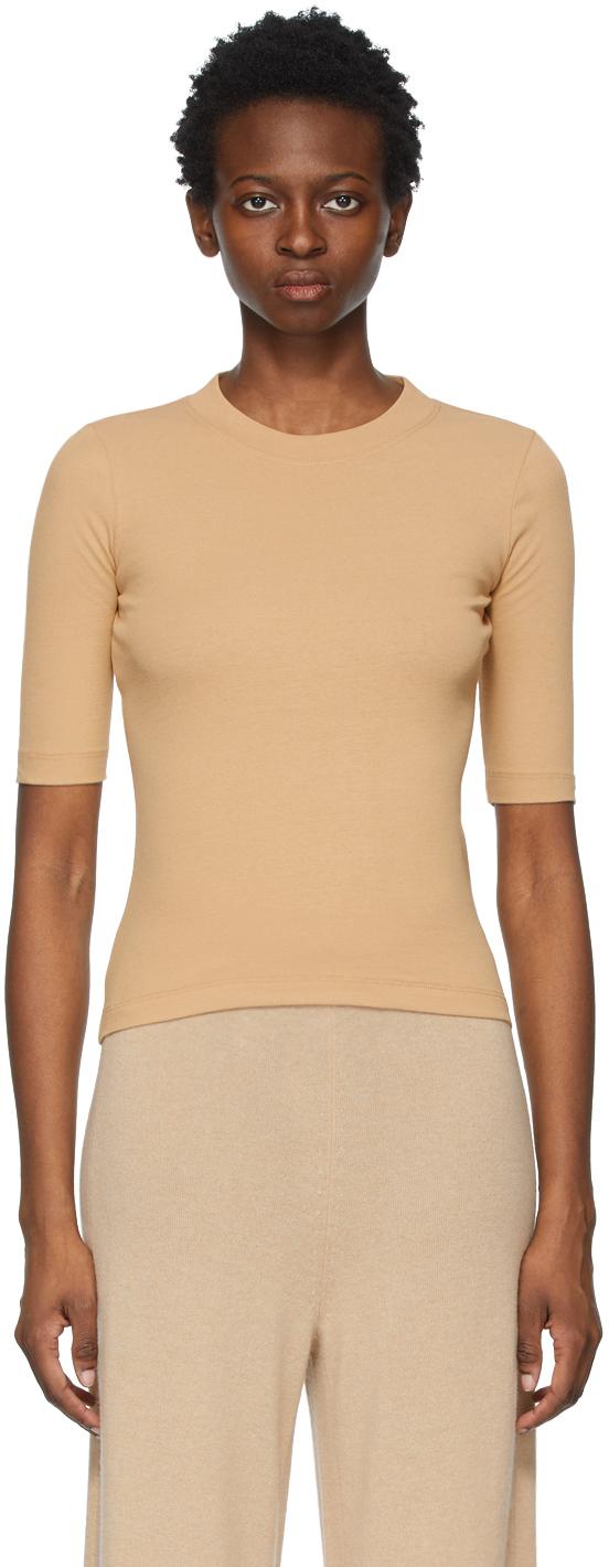 Rosetta Getty 驼色五分袖 T 恤