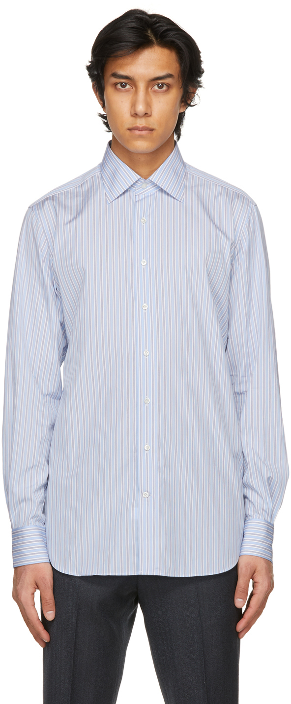 Husbands 蓝色 Classic Collar 条纹衬衫