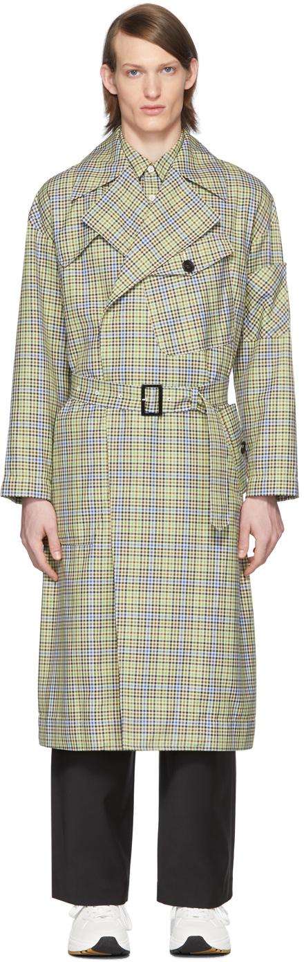Tibi SSENSE 独家发售绿色 & 驼色格纹再生面料风衣