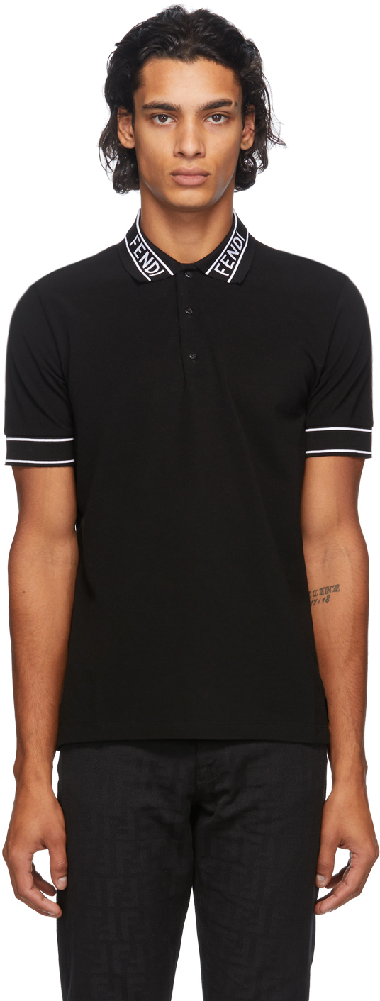 Fendi 黑色 Logo Collar 珠地棉 Polo 衫