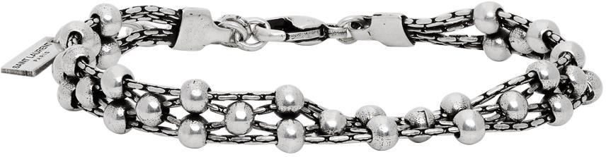 Saint Laurent 银色珠饰手链