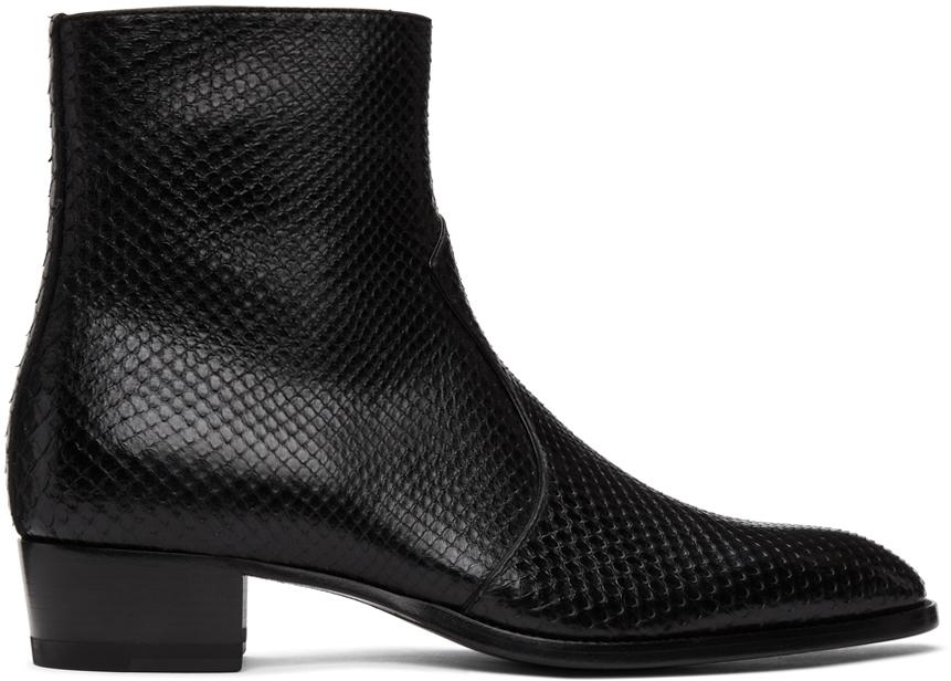 Saint Laurent 黑色 Wyatt 蟒蛇皮拉链切尔西靴