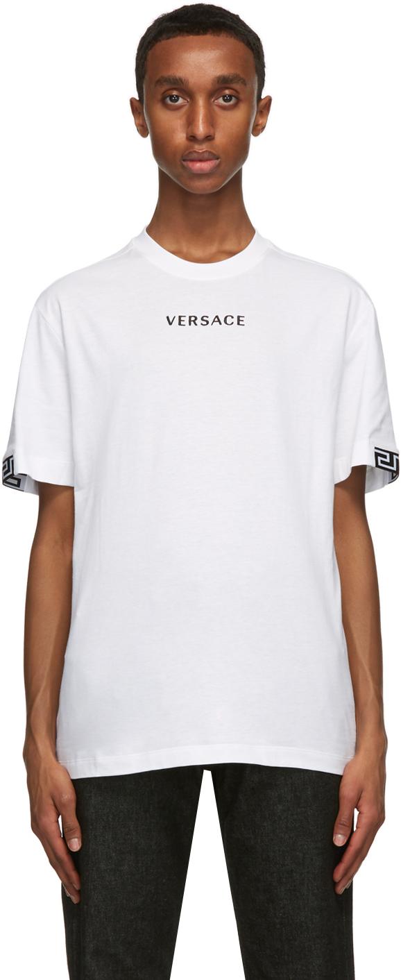 Versace 白色徽标刺绣 T 恤