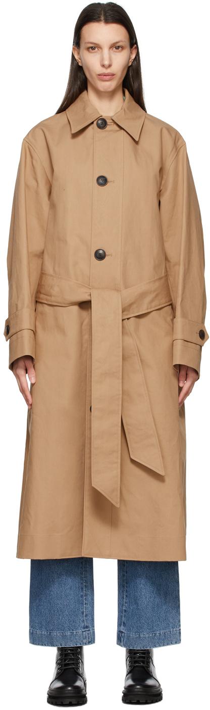 AMI Alexandre Mattiussi 黄褐色 Mac 大廓形大衣
