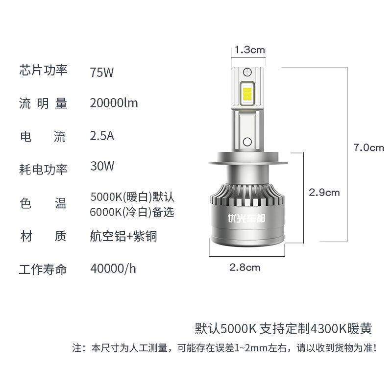 汽車LED大燈 汽車led大燈燈泡激光h7改裝超亮貨車強光24vh4遠近一體h1透鏡9005【MJ11239】