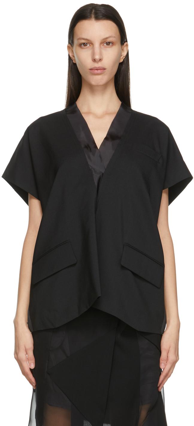 Sacai 黑色 Suiting V 领上装
